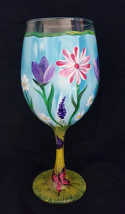 Spring in Bloom Wine Glasses